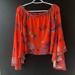 Umgee Orange floral off shoulder bell sleeve Small